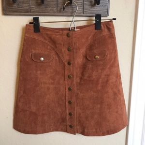 Button Front Suede Mini Skirt